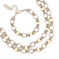 Principles by Ben de Lisi - Designer cream enamel and gold link necklace and bracelet set