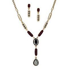 Principles by Ben de Lisi - Designer grey crystal y drop necklace and earring set
