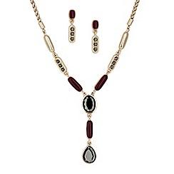 Principles by Ben de Lisi - Designer grey crystal y drop necklace and earring set