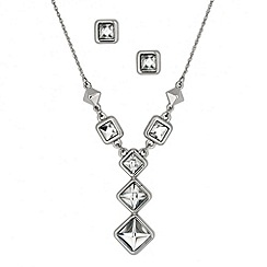 Principles by Ben de Lisi - Designer triple crystal drop necklace and earring set