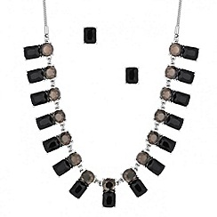 Principles by Ben de Lisi - Designer jet and grey stone stick necklace and earring set