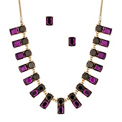 Principles by Ben de Lisi - Designer purple and grey stone stick necklace and earring set