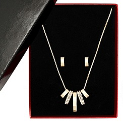 Principles by Ben de Lisi - Designer polished gold and crystal stick necklace and earring set