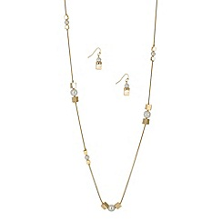 Principles by Ben de Lisi - Designer pearl and gold cube necklace and earring set
