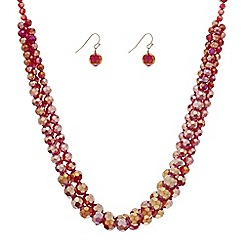 Principles by Ben de Lisi - Designer red bead triple row jewellery set