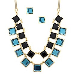 Principles by Ben de Lisi - Designer teal and jet square drop necklace set