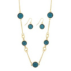 Principles by Ben de Lisi - Designer teal embellished round disc jewellery set