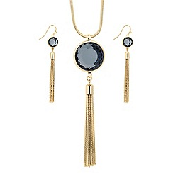 Principles by Ben de Lisi - Designer round grey crystal tassel drop jewellery set
