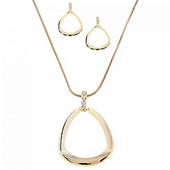 Principles by Ben de Lisi - Designer peardrop polished pendant and crystal set