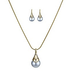 Principles by Ben de Lisi - Designer polished top grey pearl drop jewellery set