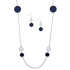 Principles by Ben de Lisi - Designer round blue enamel disc jewellery set