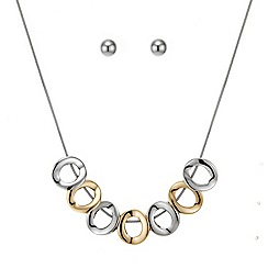 Principles by Ben de Lisi - Two tone circle necklace with matching earring