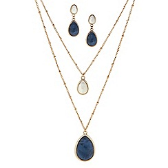 Principles by Ben de Lisi - Designer marble effect layered necklace and earring set