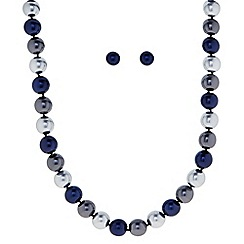 Principles by Ben de Lisi - Designer Blue tonal pearl magnetic necklace and earring set