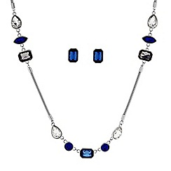 Principles by Ben de Lisi - Designer Blue mixed stone long necklace and earring set