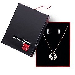Principles by Ben de Lisi - Designer rose gold crystal twist necklace and earring set
