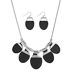 Principles by Ben de Lisi - Designer black oval drop necklace and earring set