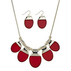 Principles by Ben de Lisi - Designer red oval drop necklace and earring set