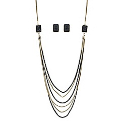 Principles by Ben de Lisi - Designer black crystal druzy multi row necklace and earring set