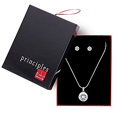 Principles by Ben de Lisi - Designer silver crystal circle necklace and earring set
