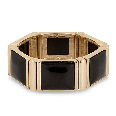 Principles by Ben de Lisi - Rectangular jet panel and gold surround stretch bracelet