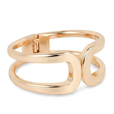 Principles by Ben de Lisi - Polished gold open curve hinged bangle