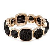 Jet pave and facet stone stretch bracelet