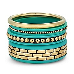 Principles by Ben de Lisi - Designer turquoise patterned bangle set