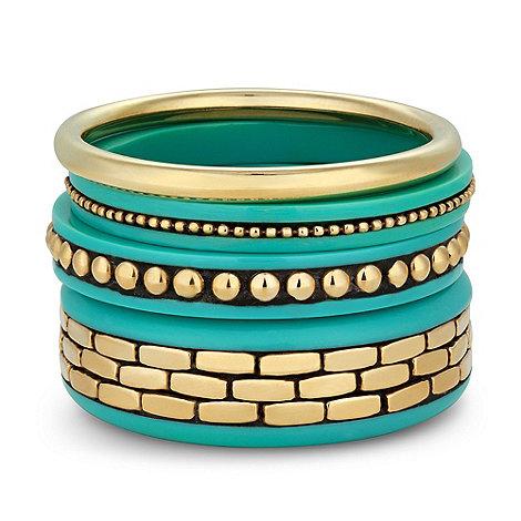 Principles by Ben de Lisi - Designer turquoise patterned bangle set
