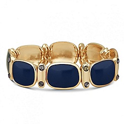 Principles by Ben de Lisi - Designer blue enamel and crystal panel stretch bracelet