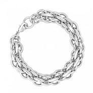 Designer polished silver chunky link bracelet