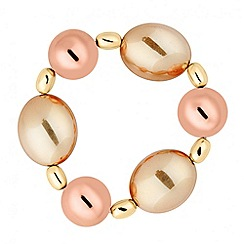Principles by Ben de Lisi - Designer polished rose and gold bead stretch bracelet