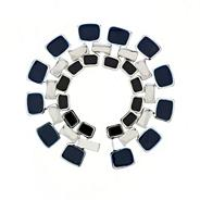 Designer blue and jet enamel triple link bracelet