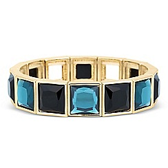 Principles by Ben de Lisi - Designer teal and jet square stretch bracelet