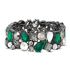 Principles by Ben de Lisi - Designer green cluster stone stretch bracelet