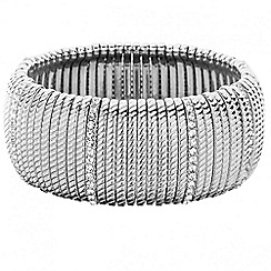 Principles by Ben de Lisi - Designer textured and crystal silver stretch bracelet