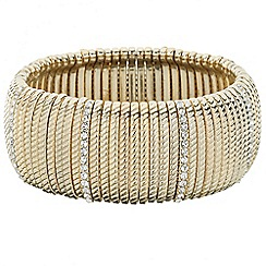 Principles by Ben de Lisi - Designer textured and crystal gold stretch bracelet