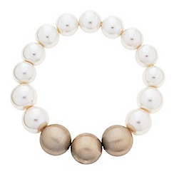 Principles by Ben de Lisi - Designer graduated cream and gold pearl bracelet
