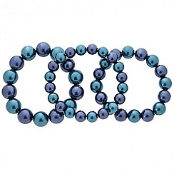 Principles by Ben de Lisi - Designer set of three blue pearl stretch bracelets