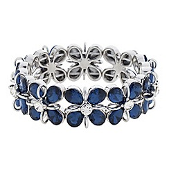 Principles by Ben de Lisi - Designer blue teardrop flower stretch bracelet