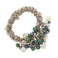 Principles by Ben de Lisi - Designer green beaded chain stretch bracelet