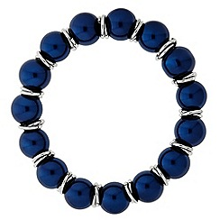 Principles by Ben de Lisi - Designer Blue pearl and silver ring stretch bracelet