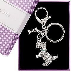 Jon Richard - Crystal embellished scotty dog and bone keyring