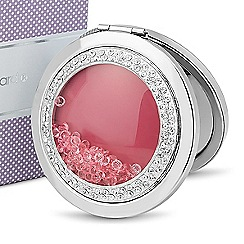 Jon Richard - Loose pink crystal round compact mirror