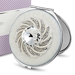 Jon Richard - Diamante crystal and pearl swirl compact mirror