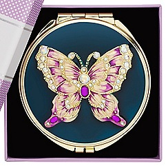 Jon Richard - Embellished butterfly enamel compact mirror