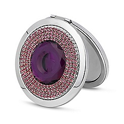 Jon Richard - Purple stone diamante surround compact mirror