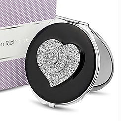 Jon Richard - Crystal heart black enamel compact mirror
