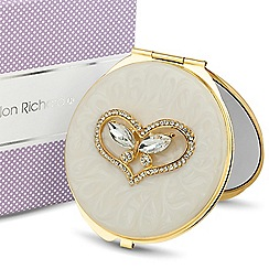 Jon Richard - Crystal butterfly cream enamel compact mirror