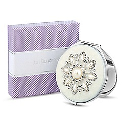 Jon Richard - Pearl and crystal cream enamel flower compact mirror